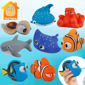 Baby Bath Toys Finding Fish Kids Float Spray Water Squeeze Aqua Soft Rubber Bathroom Play Animals Bath Figure Toy For Children(China)