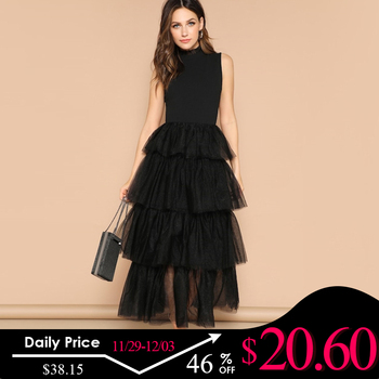 Sheinside Black Sleeveless Layered Contrast Mesh Ruffle Hem Party Dress Women 2019 Summer Elegant Frilled Neck Maxi Dresses