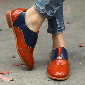 Nowy 2019 wiosenna gorąca wyprzedaż damskie oxfordy PU skórzane buty Brogue Lady mokasyny Vintage Slip-On buty na płaskiej podeszwie z okrągłym noskiem buty tanie i dobre opinie NoEnName_Null Na co dzień Półbuty CN (pochodzenie) Na wiosnę jesień okrągły nosek MATURE RUBBER Wsuwane Dobrze pasuje do rozmiaru wybierz swój normalny rozmiar