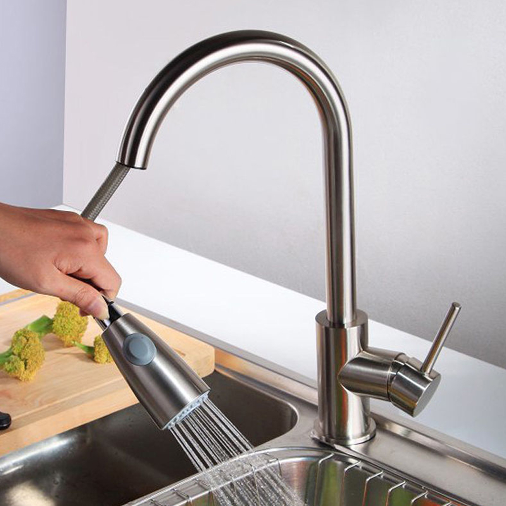 Home Handle Tap Kitchen Faucet Single Hole Swivel Mixer Stream Stainless Steel Pull Out Durable Sprayer Brushed Nickel Sink