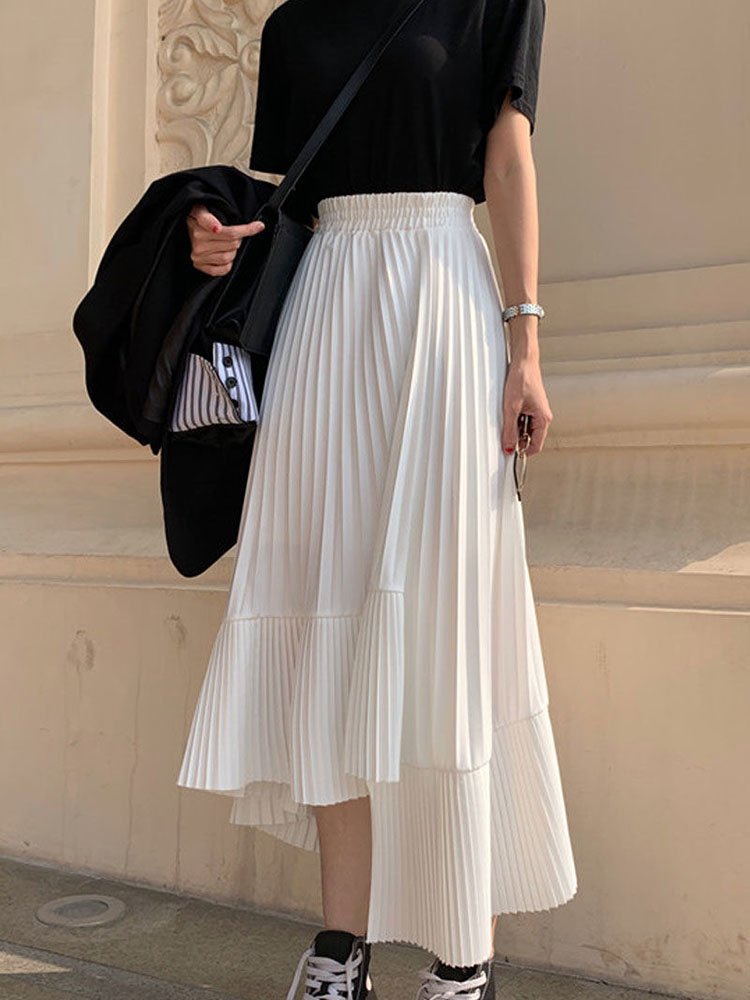 Long Skirts For Women's Skirts Harajuku Korean Style White Black Midi Skirts Female Irregular High Waist Pleated Skirts Clothes