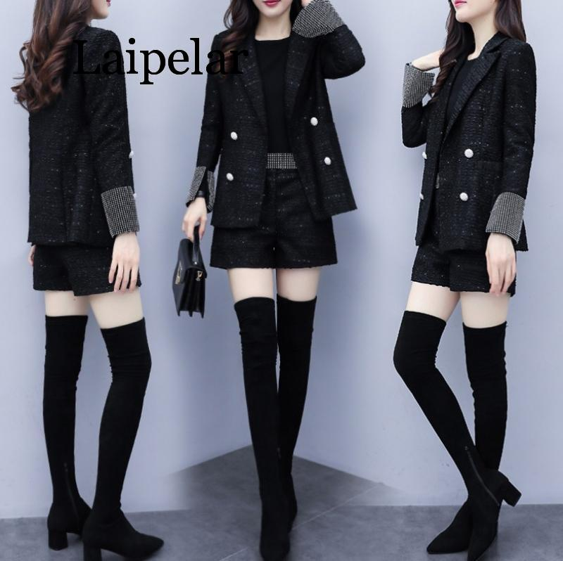Women's suits autumn and winter new small fragrance two-piece temperament tweed suit jacket slim shorts elegant 2 sets laipelar