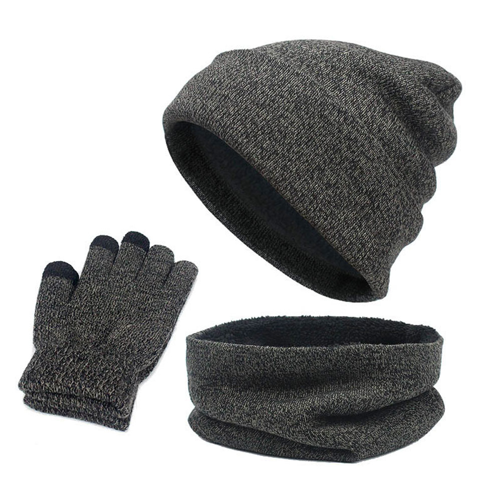 3Pcs/Set Women And Men Winter Warm Hat Scarf Gloves Set Fashion Knitted Beanie Cap Fleece Scarf Neck Warmer Touch Screen Gloves