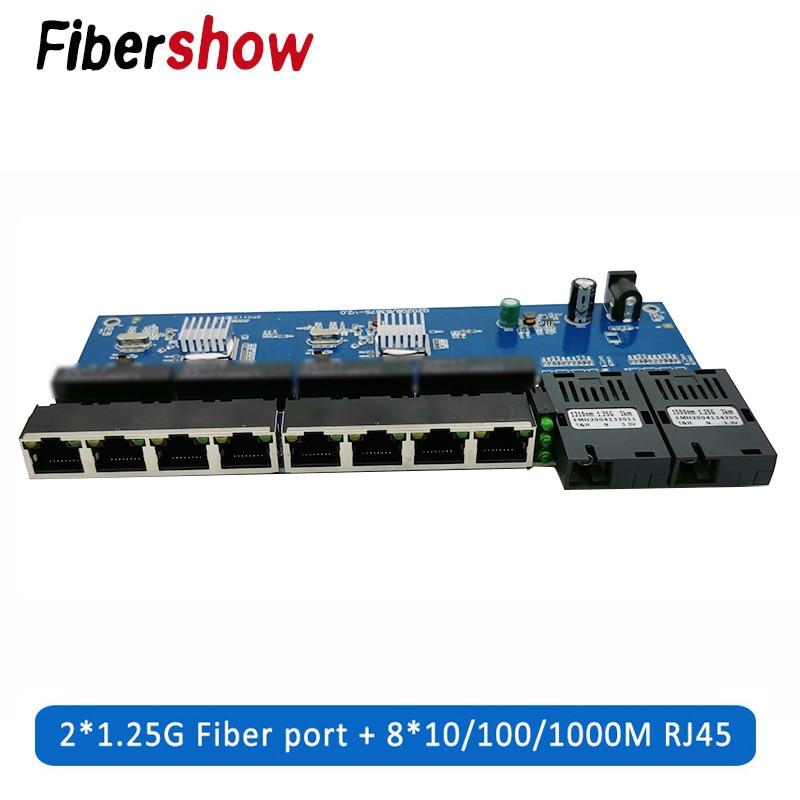 Gigabit Ethernet Switch Fiber Optical Media Converter PCBA 8 RJ45 UTP And 2 SC Fiber Port 10/100/1000M  Board PCB