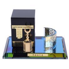 Diy eid mubarak muçulmano do vintage cristal dourado kaaba modelo de três peças islâmico construção artesanato decoração de casa