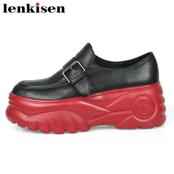 Lenkisen handmade sneaker genuine leather round toe high heels thick bottom buckle deep mouth slip on women vulcanized shoes L03