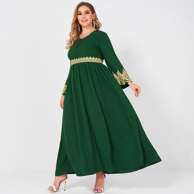 Spring  Autumn New Women's Fashion V-neck Lace Stitching Long Banquet Elegant Plus Size Slim Long-sleeved Dress 3