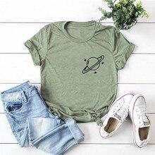 Plus Size T-Shirt Corsage Planet Print S-5XL 100%Cotton T Shirt Women TShirt O N