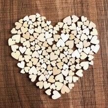 50 unids/bolsa de madera rústica Corazón de amor de madera adornos de dispersión para mesa de boda manualidades decoración Diy artesanal decoraciones de Navidad