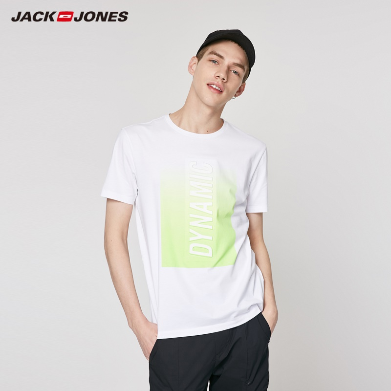 JackJones Men's 100% Cotton 3D Letter Print Gradient Short-sleeved T-shirt Menswear|Streetwear 219201552