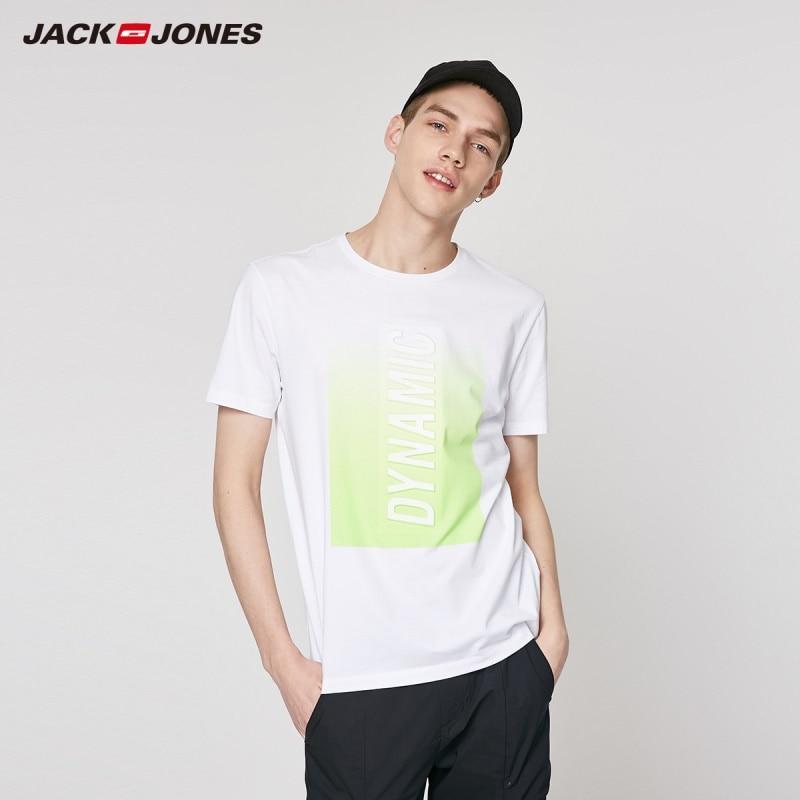 JackJones Men's Spring 100% Cotton 3D Letter Print Gradient Short-sleeved T-shirt Menswear|Streetwear 219201552