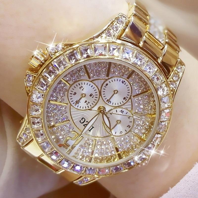 Mode Frauen Uhr mit Diamant Uhr Damen Top Luxus Marke Damen Casual frauen Armband Kristall Uhren Relogio Feminino