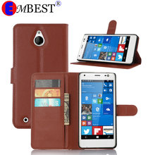 EMBEST Leather Flip Cover Luxury Wallet Phone Case for Nokia Lumia 520 535 625 630 730 830 1320 435 640 550 850 With Card slots(China)