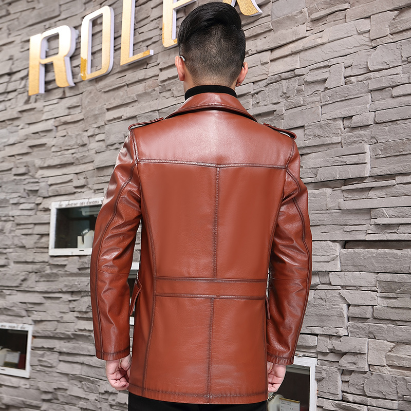 Genuine Leather Jacket Men Spring Real Cow Leather Coat Windbreaker Long Cowhide Leather Jacket And Coat 07-9979 KJ1384