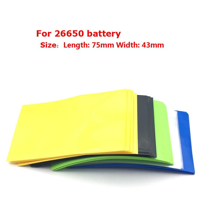 50pcs 75*43mm Heat Shrink Film Fit 26650 Battery Sleeve PVC Tube Wrap