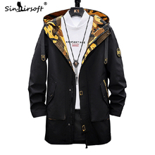 New Design Patchwork Windbreaker Mens Large Size Safari Style Letter Printing Coat Draped Male Loose Fashion Top Clothing Warm