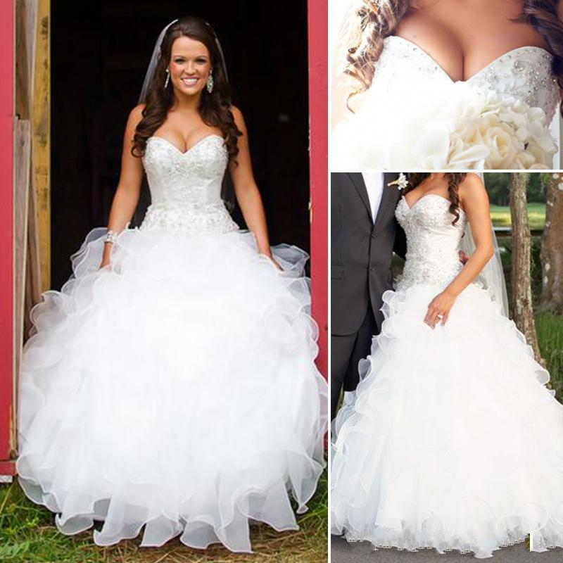 Plus Size Country Wedding Dresses A Line Sweetheart Ruffled Organza Wedding Gown Cheap Custom Made Traditional Wedding Dresses