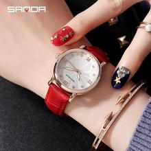 Sanda Top Brand New Arrival Watches For Women Simple Flower Dial Waterproof Leather Strap Ladies Quartz Wrist Watch Female Clock beads bow quartz wrist watch round dial leather strap for ladies