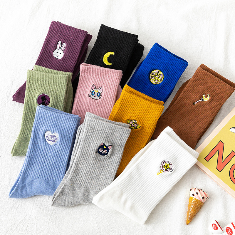Kawaii Moon Girl Funny Socks Women Korean WomenSocks Pure Cotton Lovely Embroidery 1 Pair Streetwear Sailor Moon SA-8