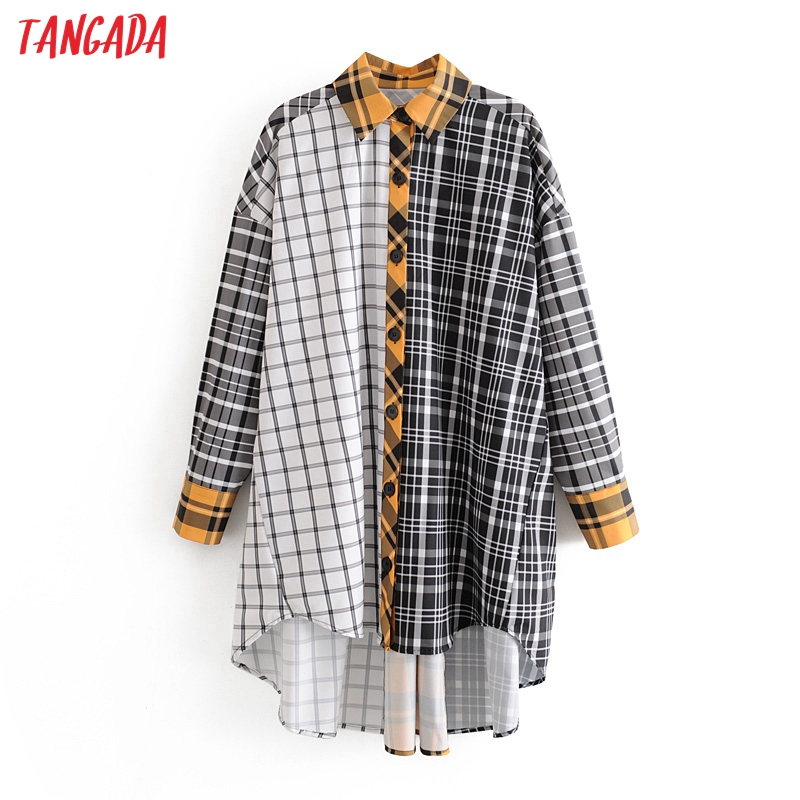 Tangada Women Block Color Plaid Print Blouse Shirts Long Sleeve 2020 Boy Friend Style Casual Shirt Vintage Tops 3h370