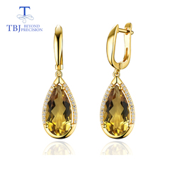 TBJ,Natural citrine peal8*16mm gemstone clasp Earring 925 Sterling Silver Fine Jewelry For party  best woman valentine gift box