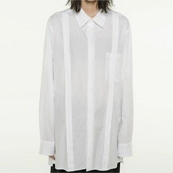 S-6XL!!2020 men's shirt straps loose casual style shirt