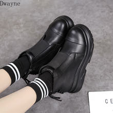 British style thick-soled autumn and winter women's shoes 2018 round head cotton shoes plus velvet lace women's boots.(China)