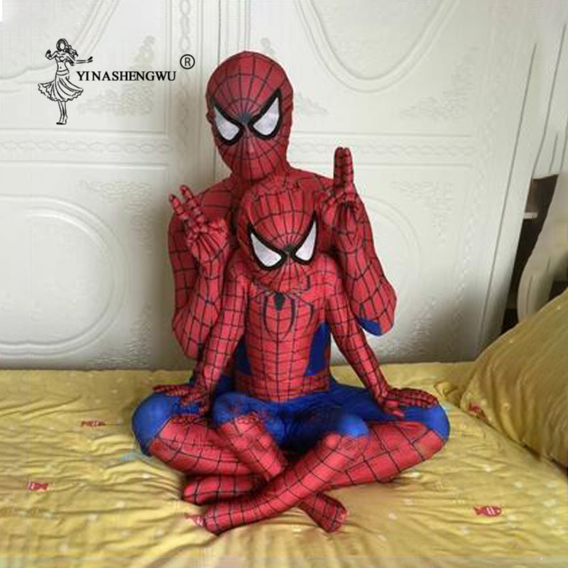Red Spiderman Costume Spider Man Suit Spider-man Costumes Adults Children Black Spider-Man Cosplay Clothing Baby Spiderman