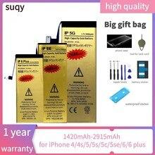 Suqy para iphone 5S bateria batterie para iphone 6s para iphone 4 4S 5 5S 5c se 6 6 plus bateria de reparação fazer telefone