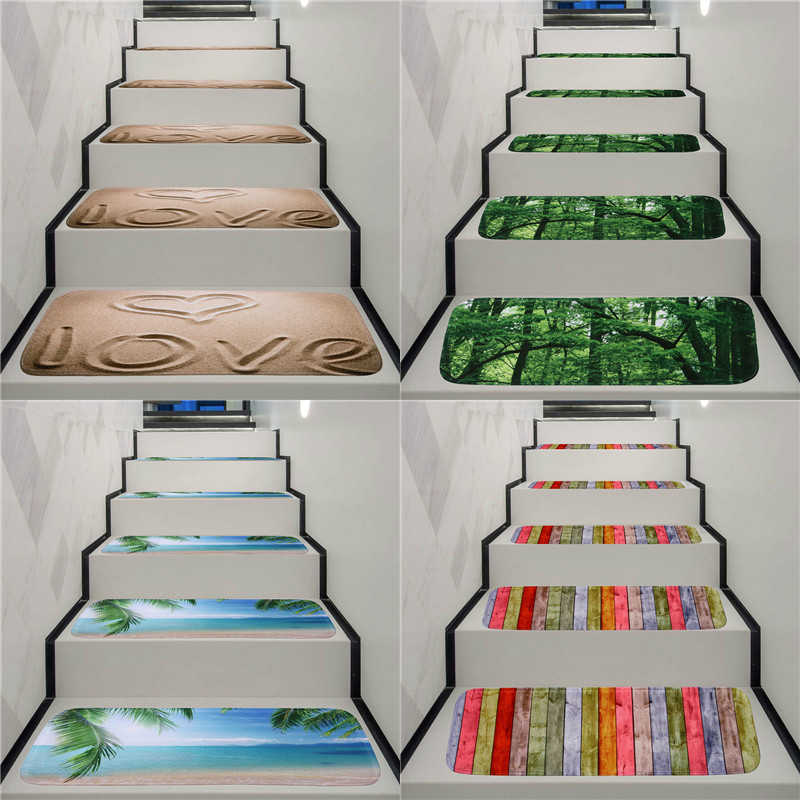 Washable Anti Skid Stair Treads Stair Carpet Rug Anti Fouling | Rug Treads For Steps | Creative | Covering | Residential | Oak | Turquoise