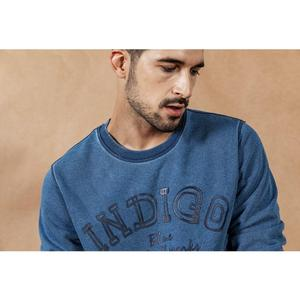 Image 3 - SIMWOOD 2020 otoño nueva indigo denim hoodie hombres lavado vintage manga larga pullover carta ropa informal con impresión sudadera SI980511