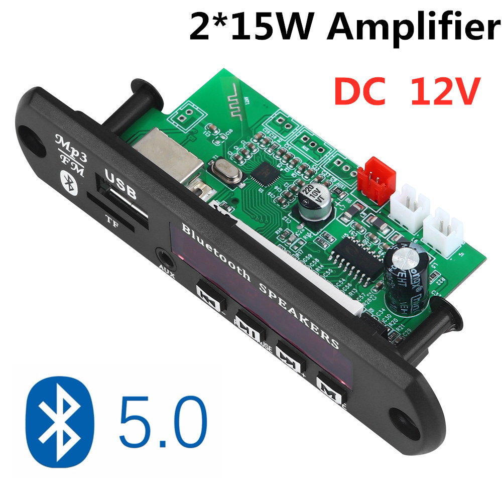 VICFINE   2*15W Amplifier  MP3 Player Decoder Board 12V Bluetooth 5.0 30W Amplifier Car FM Radio Module Support  TF USB AUX