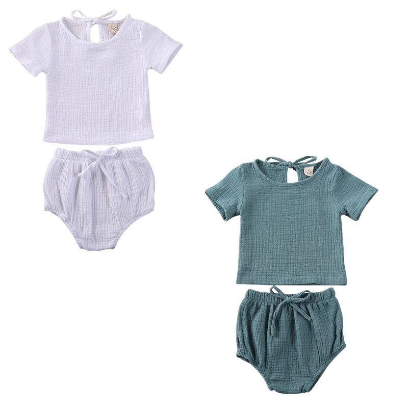 Летняя одежда для новорожденных девочек; хлопковая льняная футболка с короткими рукавами и круглым вырезом; шорты; спортивные костюмы; комп...