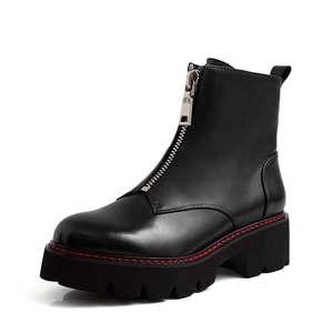 Image 2 - Cracando botas de couro genuíno, botas de couro para motocicleta, dedo do pé redondo, cores preta, inverno l28
