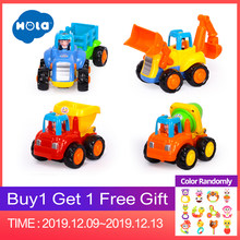 HOLA 326 Push and Go Friction Powered Car Toys Set Tractor Bulldozer Mixer Truck and Dumper for Baby Toddlers Classic Toys Gifts(China)