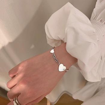 Moda Retro Love Heart Thai srebrna kolorowa bransoletka S925 pieczęć blokada łańcucha bransoletka dla kobiet biżuteria prezenty hurtownia S-B368 tanie i dobre opinie anenjery Chain link bransoletki Kobiety Tybetańskie srebrne CN (pochodzenie) TRENDY Metal łańcuszek None Serce decoration