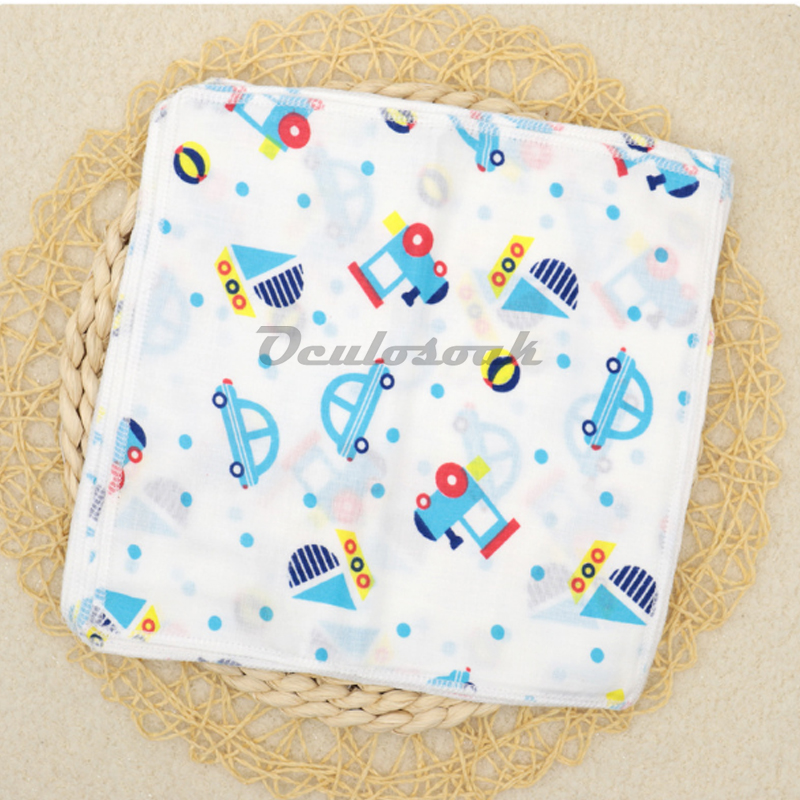 3PCS Children Baby Cartoon Towel Handkerchief Cotton Tulle Towel Handkerchief Double Breastfeeding Towel Saliva Towel 25 * 25cm