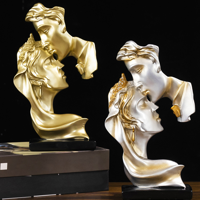 New modern abstract sculpture art kiss couple statue home decor ornaments Resin Wine cabinet desktop decor