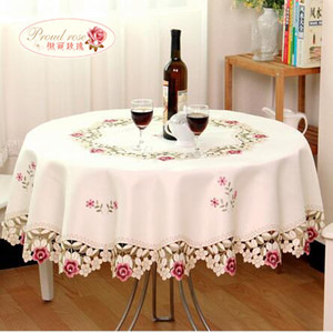 Image 3 - Proud Rose Rural Style Tablecloth  Rectangle Table Cover TV Ark Cover Cloth Embroidered Tablecloth Wedding Table Cloth