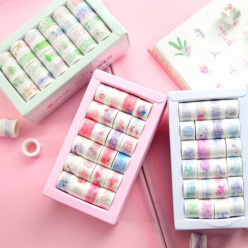 24 Pcs/pack Mini Starry Sky Washi Tape Set DIY Decoration Stickers Scrapbooking Diary Adhesive Masking Tape Stationery Gift