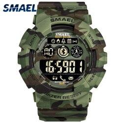 Zegarki wojskowe cyfrowe męskie SMAEL nowe mody zegarek cyfrowy zegar LED 50M wodoodporne zegarki wojskowe Sport 8013 camatch dla mężczyzn
