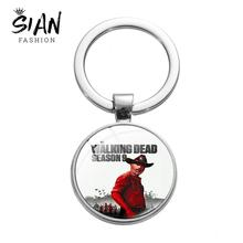SIAN Classic The Walking Dead TV Keychain Lead Figure Art Poster Glass Crystal Silver Plated Key Ring Hot TV Souvenir Collection