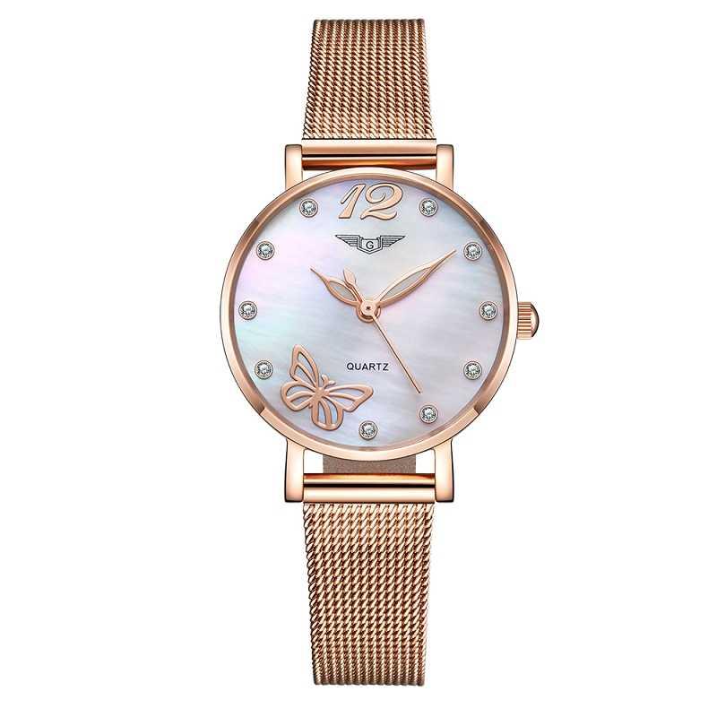 Relógio feminino quartz com pulseira de aço, dourada