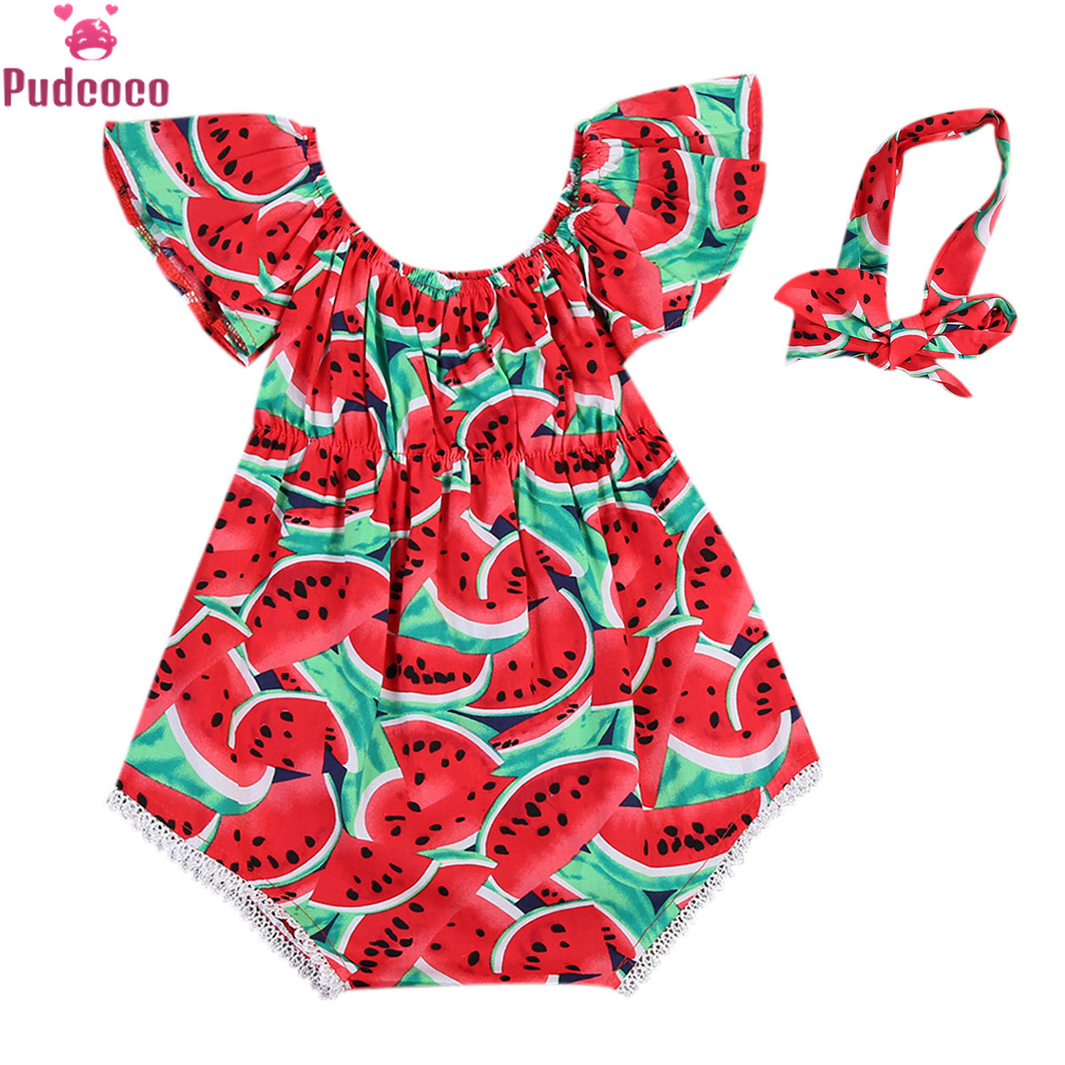 Newborn Kids Baby Girls Clothes Romper Printed Watermelon Bodysuit Jumpsuit With Headbands Bebe Outfits Playsuit