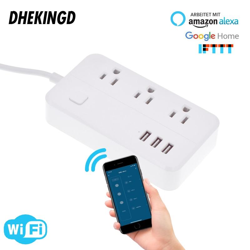 Tira de energia wifi 3usb inteligente eua plug interruptor sobrecarga protetor contra surtos 3 portas usb carregador google casa alexa 1.25m 10a wifi soquete