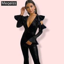 MEQEISS Black Sequin Jumpsuit Women Long Sleeve Sparkly Bodycon Jumpsuits Sexy Rompers Glitter Club Party Jumpsuits Overalls(China)