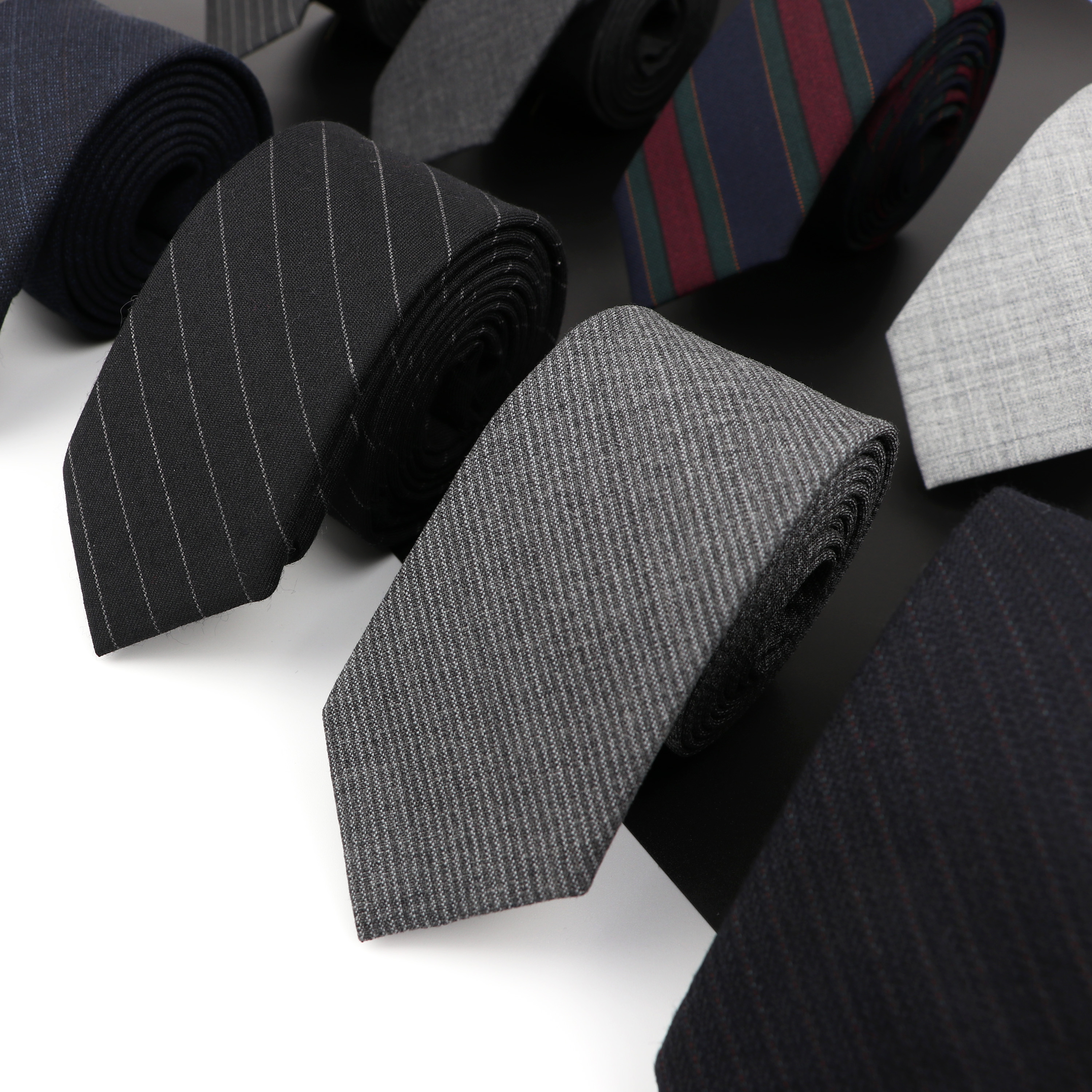 High Quality Classical Color Black Grey Skinny 100% Wool Tie Men Necktie For Business Meeting Fashion Shirt Dress Accessories