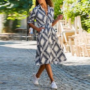 Image 4 - Boho Style Floral Print Midi Dress Turn Down Collar Sashes Fashion Shirt Dress Long Sleeve Pockets Casual Wear For Women Vestido