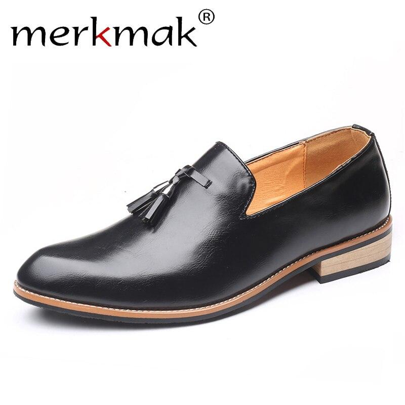 Merkmak Autumn Tassel Men's Loafers Casual Leather Shoes Men Fashion Slip On Shoes Men Light Flats Driving Shoes Big Size 38-47