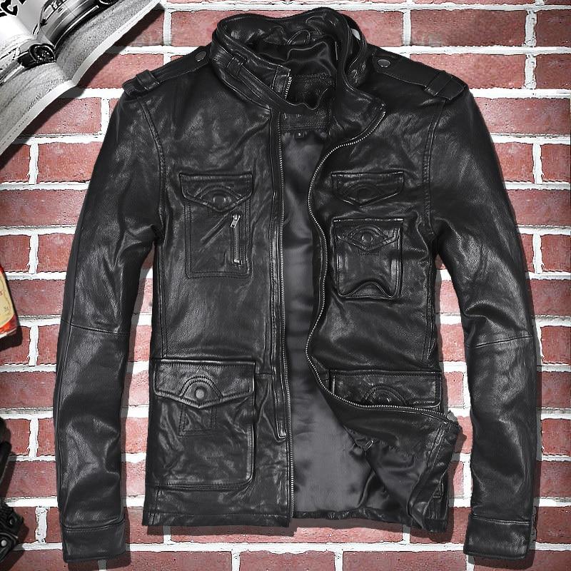 Genuine Leather Jacket Men Real Sheepskin Coat Motorcycle Jacket Man Vintage Leather Jackets Veste Cuir Homme 813 KJ1932